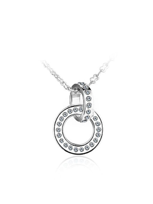 White Simple Combined Ring Rhinestones Necklace