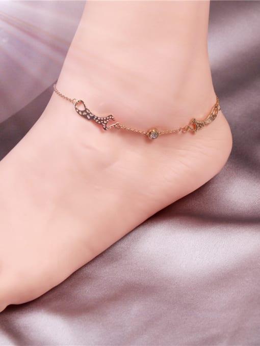 Rose Lovely Leopard Women Titanium Anklet 1