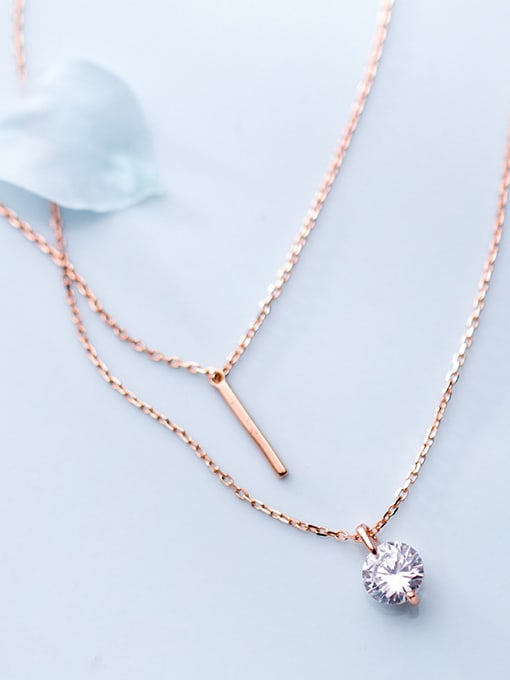 925 Sterling Silver Round Multi Crystal Pendant Chain Necklace CZ Bridal
