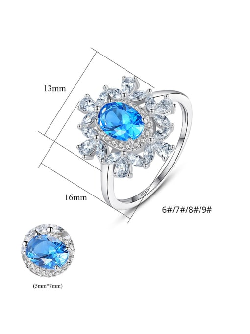 CCUI 925 Sterling Silver With Sapphire Luxury Flower Solitaire Rings 4