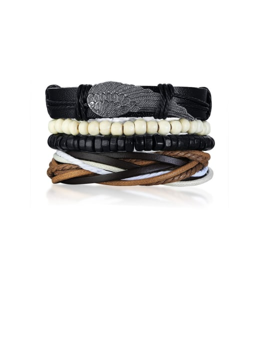 CONG Stainless Steel With PU weaving  Bracelets 0