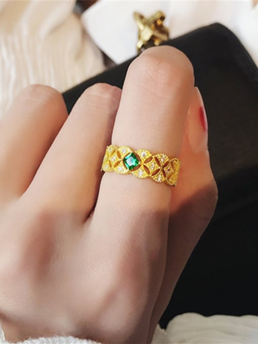 Girlhood Alloy With Gold Plated  Cubic Zirconia Classic free size Rings 1