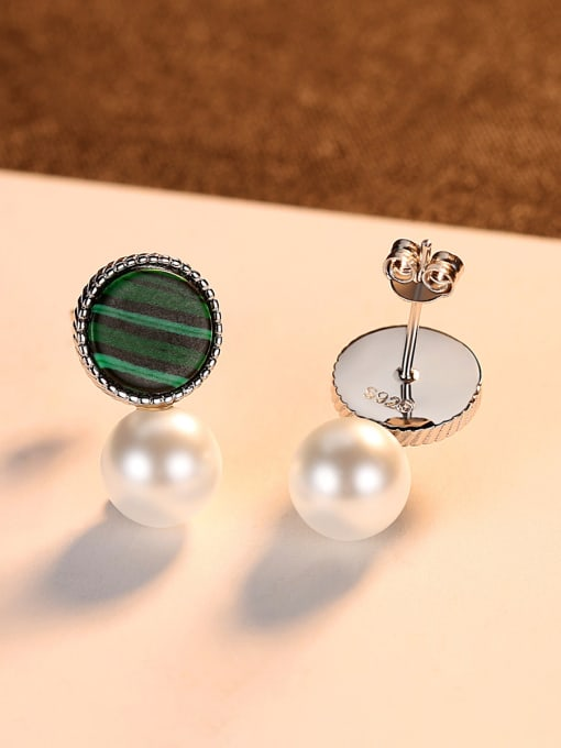 CCUI 925 Sterling Silver With  Artificial Pearl Fashion Round Stud Earrings 2