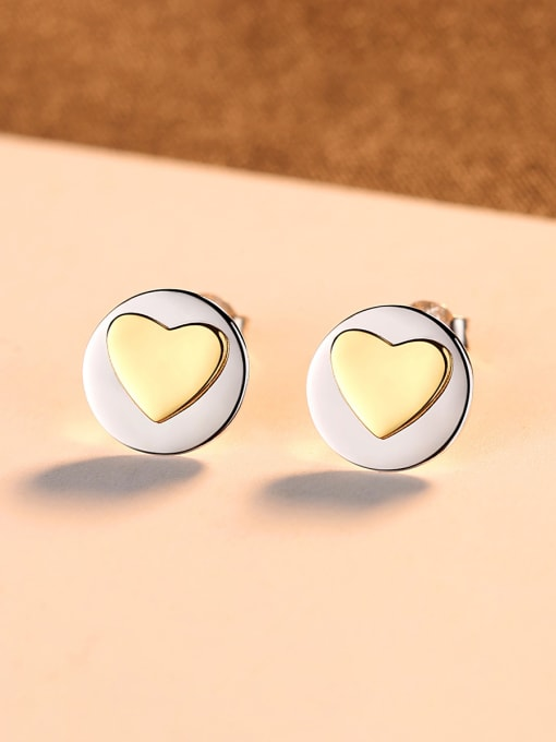 CCUI 925 Sterling Silver With Simple smooth  Heart-shaped Stud Earrings 2