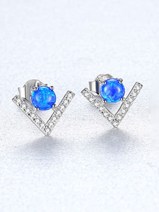 Blue 925 Sterling Silver With Opal  Cute Triangle Stud Earrings