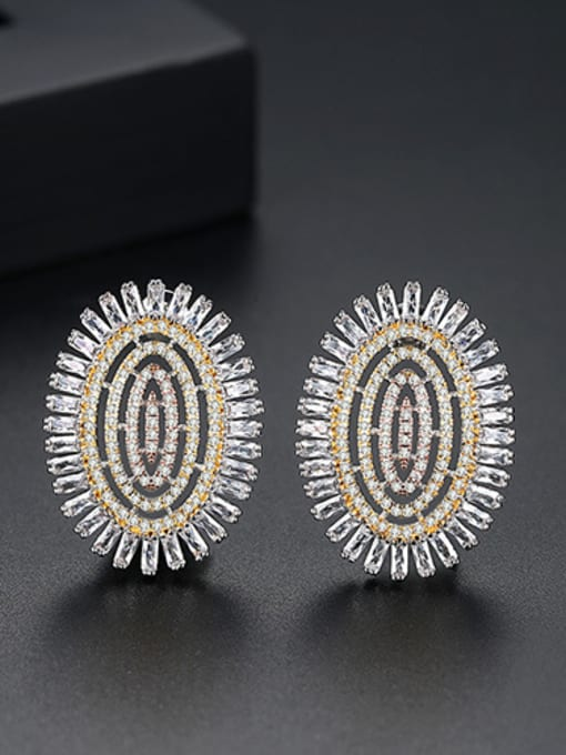 Color-T02E23 Copper With Platinum Plated Luxury Oval Cubic Zirconia Cluster Earrings