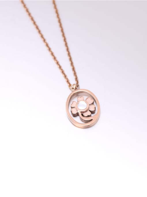 Rose Round Flower Pattern Clavicle Necklace 0