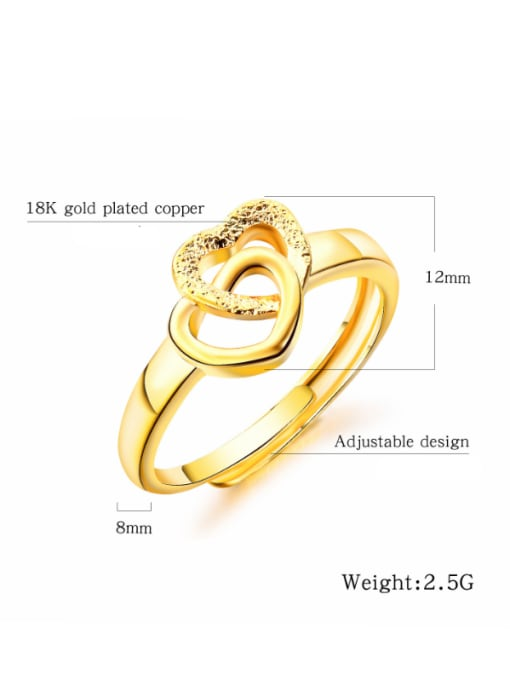 Open Sky Copper With 18k Gold Plated Fashion Heart Wedding Rings 2