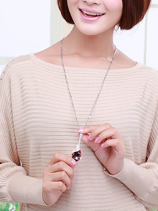 OUXI Fashion Water Drop Austria Crystal Necklace 1