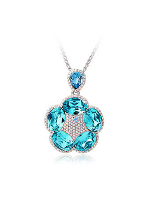 light blue Fashion Swarovski Crystals Flowery Necklace