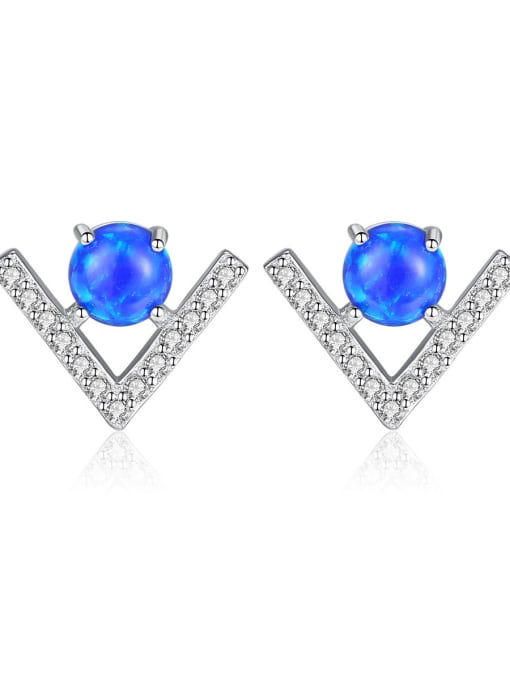 CCUI 925 Sterling Silver With Opal  Cute Triangle Stud Earrings 0