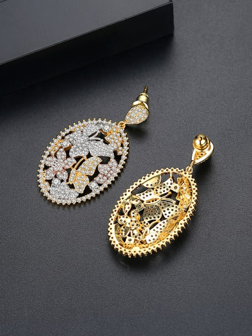 BLING SU Copper With 18k Gold Plated Luxury Butterfly  Cubic Zirconia Stud Earrings 3