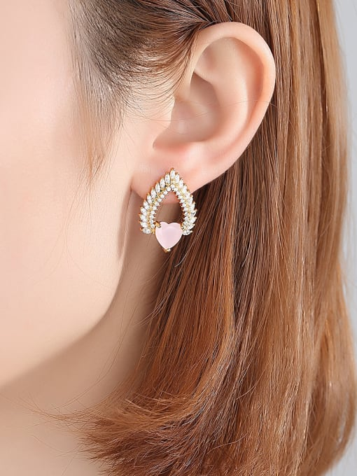 BLING SU Copper With 18k Gold Plated Trendy Heart Cluster Earrings 1