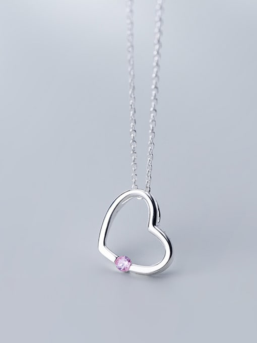 Rosh 925 Sterling Silver With Silver Plated Simplistic Heart Necklaces 1