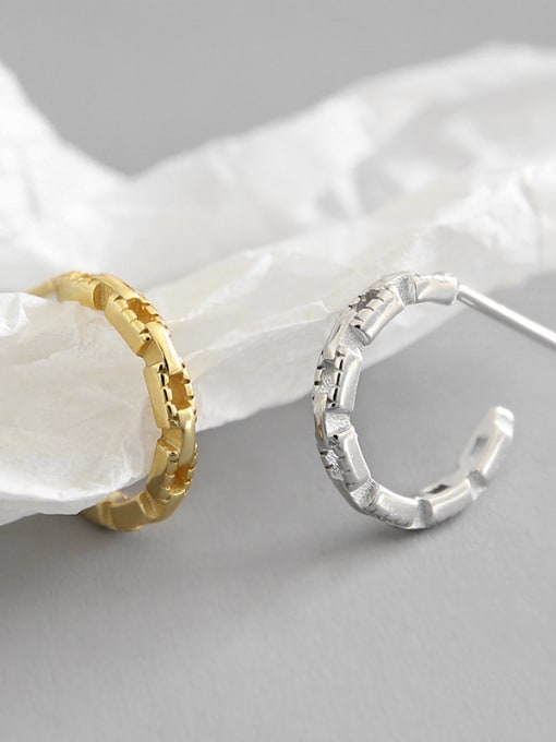 Dak Phoenix 925 Sterling Silver With Platinum Plated Simplistic Geometric Stud Earrings