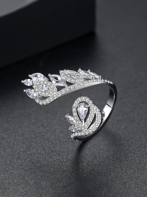 BLING SU Copper With Platinum Plated Exaggerated Flower Cubic Zirconia Statement Rings 2