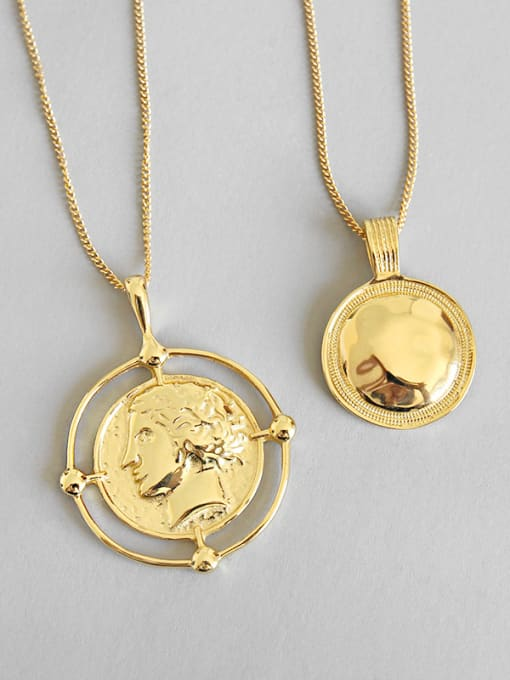 Dak Phoenix 925 Sterling Silver With 18k Gold Plated Trendy Face Necklaces