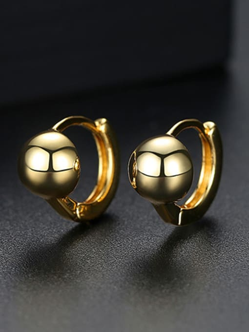 18k-gold T02E18 Copper With Platinum Plated Casual Ball Stud Earrings