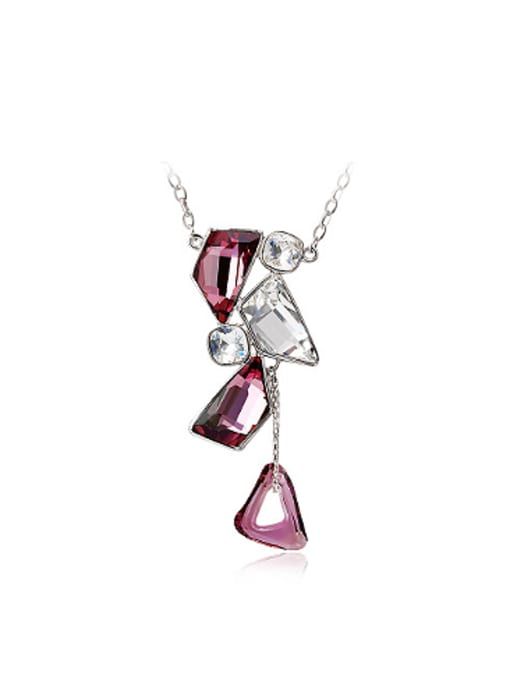 Purple Fashion Geometrical Austria Crystals Necklace