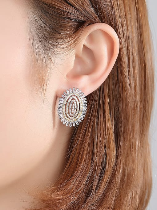 BLING SU Copper With Platinum Plated Luxury Oval Cubic Zirconia Cluster Earrings 3