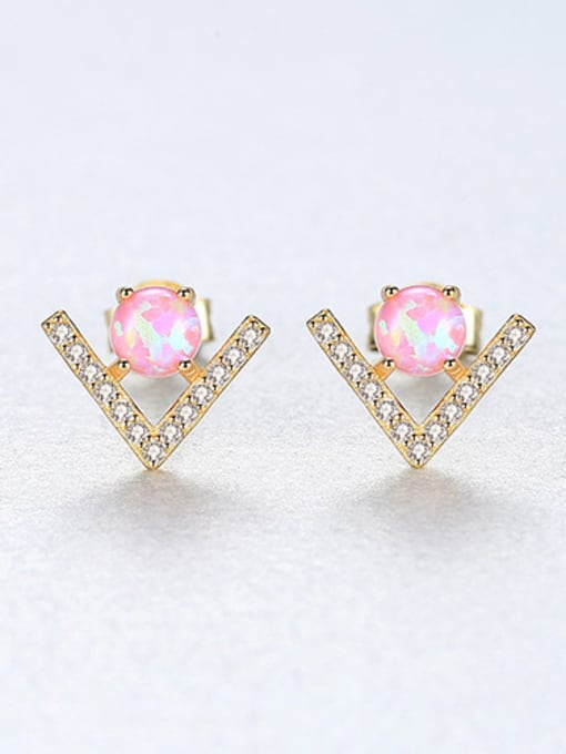 Pink 925 Sterling Silver With Opal  Cute Triangle Stud Earrings