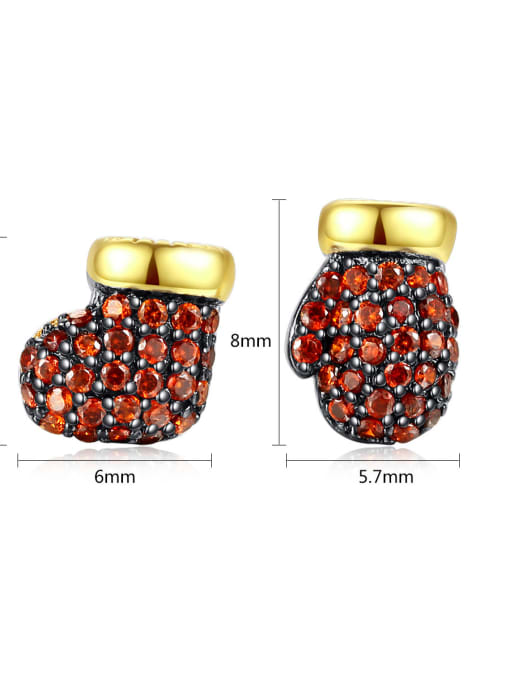 BLING SU Copper With 18k Gold Plated Fashion Clothes Stud Earrings 4