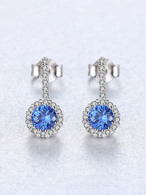 Blue 925 Sterling Silver With Cubic Zirconia Cute Round Stud Earrings