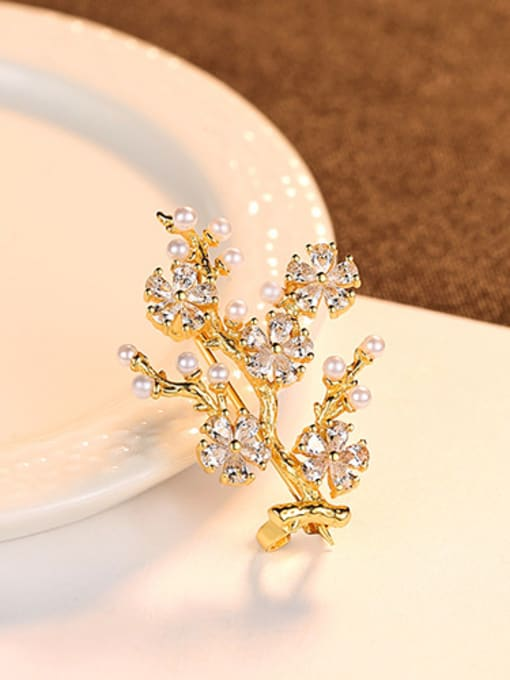 gold 925 Sterling Silver With Artificial Pearl  Cubic Zirconia Trendy Small tree Brooches