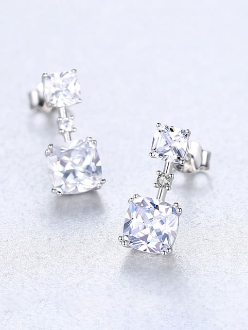 CCUI 925 Sterling Silver With Cubic Zirconia Delicate Square Stud Earrings 3