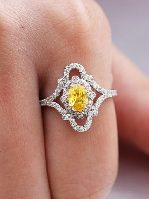 yellow Copper With White Gold Plated Delicate Oval Cubic Zirconia Engagement Rings