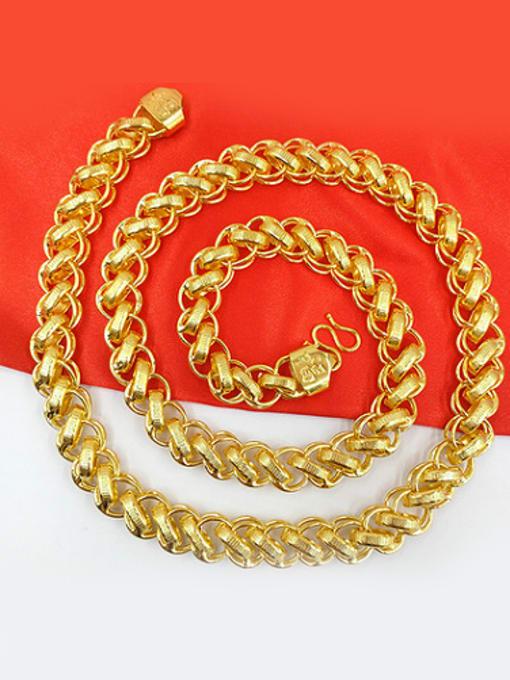 golden Delicate Men Geometric Shaped Necklace