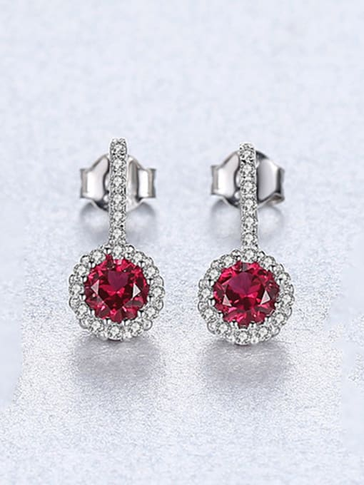 red 925 Sterling Silver With Cubic Zirconia Cute Round Stud Earrings