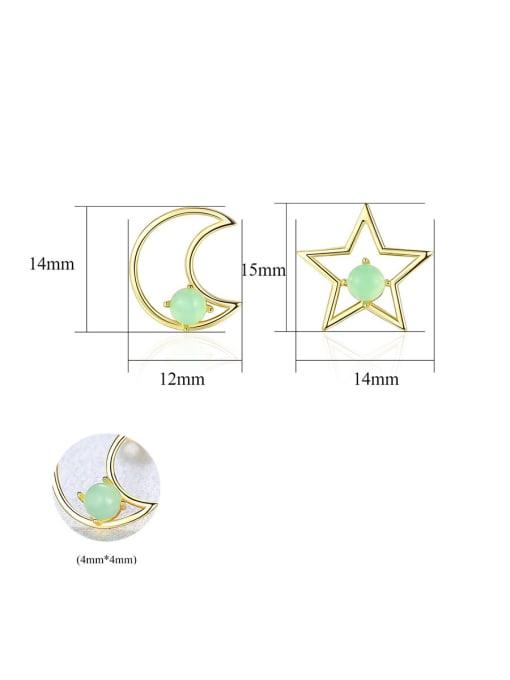 CCUI 925 Sterling Silver With multicolor Opal Cute Stars moon asymmetry Stud Earrings 4