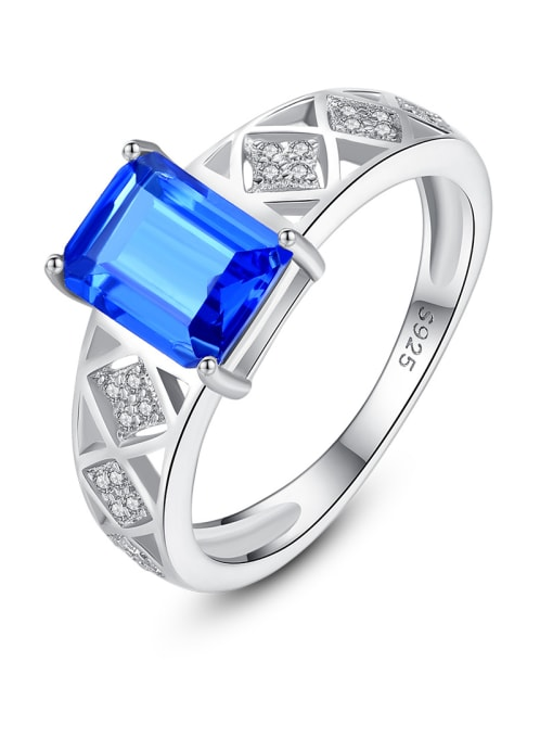 CCUI 925 Sterling Silver With Glass stone Simplistic Square Band Rings 0