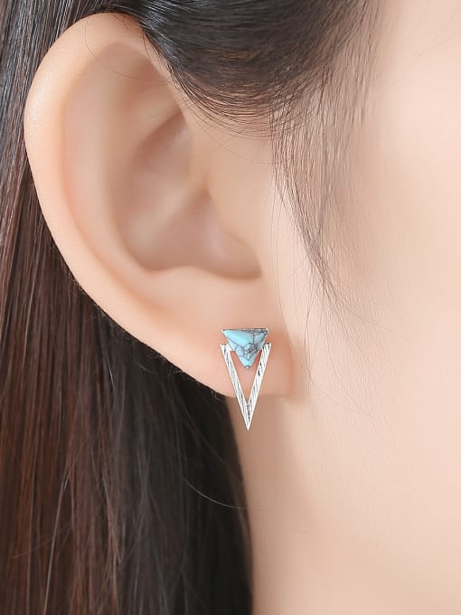 CCUI 925 Sterling Silver With Turquoise Simplistic Triangle Stud Earrings 1