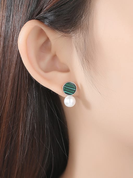 CCUI 925 Sterling Silver With  Artificial Pearl Fashion Round Stud Earrings 1