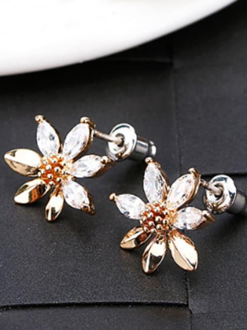 OUXI Exquisite Zircon Flowery Stud Earrings 1