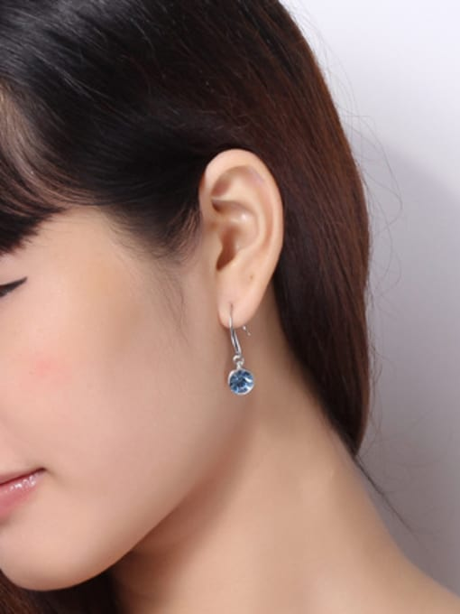 OUXI Fashion Blue Round Crystal Earrings 1