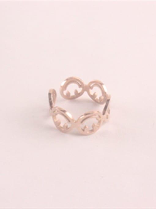 Rose Hollow Fashion Titanium Opening Ring 0