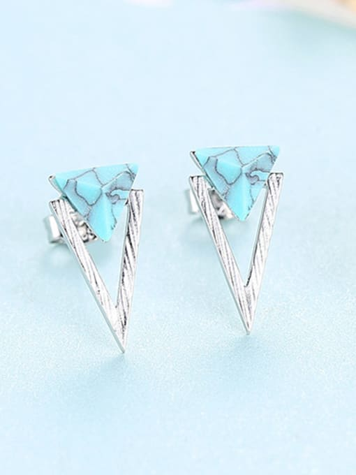 sliver 925 Sterling Silver With Turquoise Simplistic Triangle Stud Earrings
