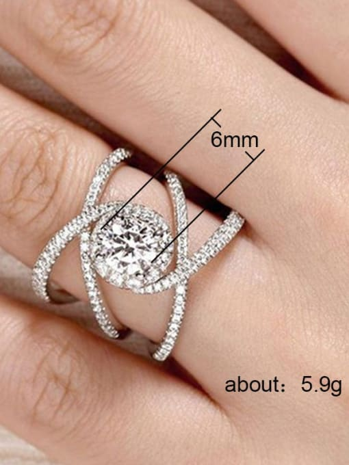 MATCH Copper With White Gold Plated Delicate Cubic Zirconia Engagement Rings 2