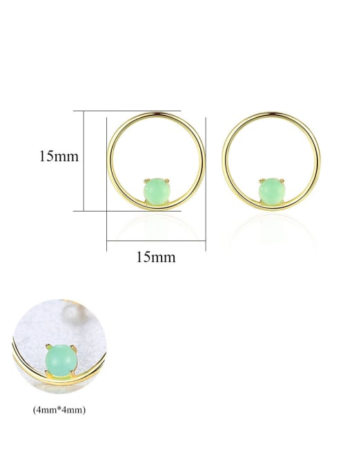 CCUI 925 Sterling Silver With  Turquoise Simplistic Round Stud Earrings 4