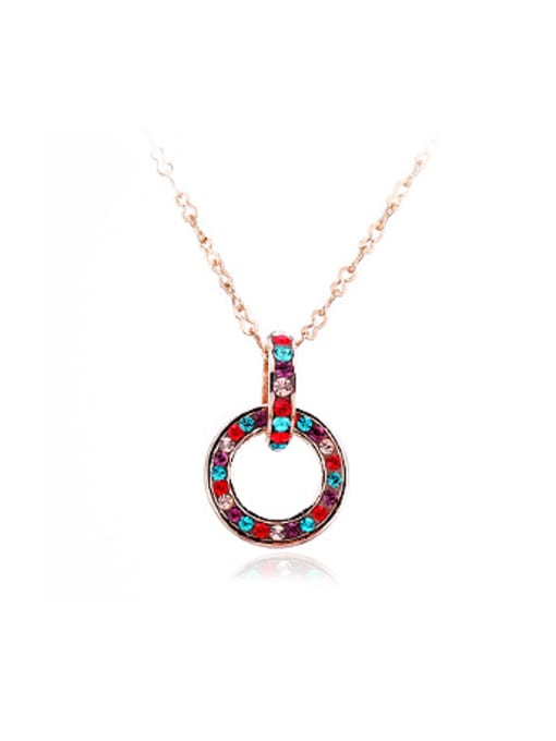 multi-color Simple Combined Ring Rhinestones Necklace