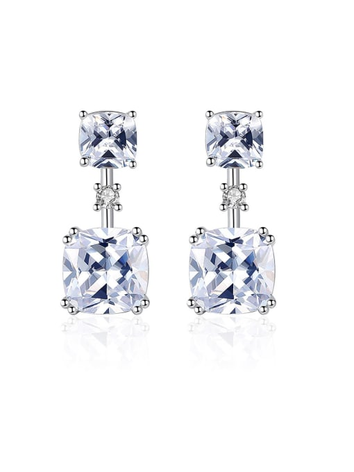 CCUI 925 Sterling Silver With Cubic Zirconia Delicate Square Stud Earrings 0