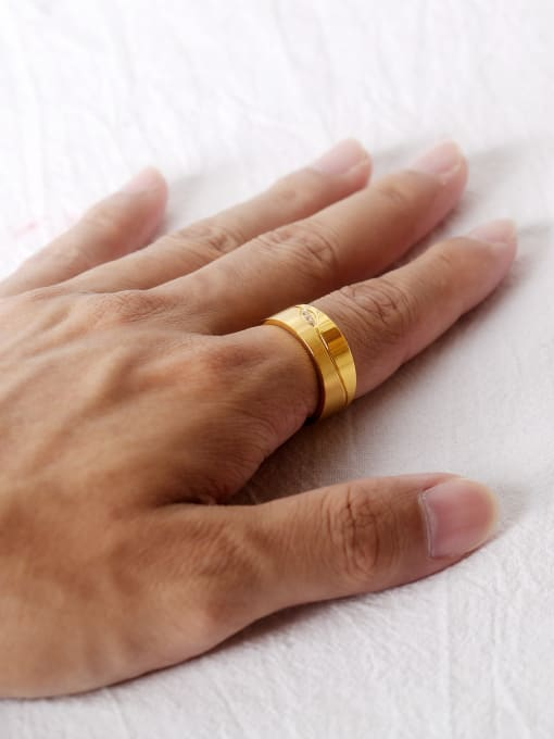 Open Sky Stainless Steel With Gold Plated Classic Geometric Wedding Rings 1