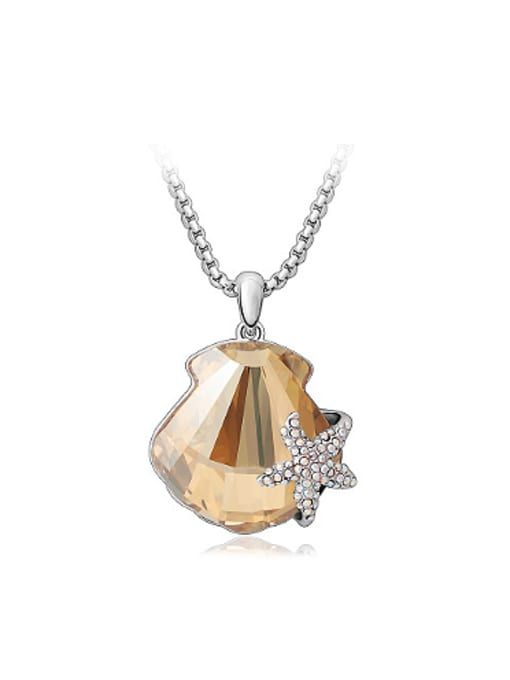 Champagne Fashion Starfish Scallop Austria Crystal Necklace