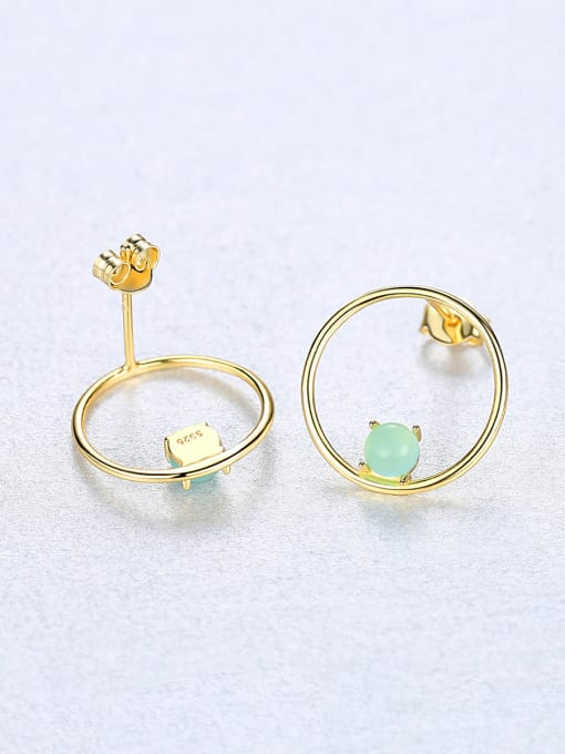 CCUI 925 Sterling Silver With  Turquoise Simplistic Round Stud Earrings 3