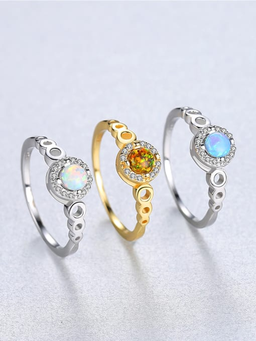 CCUI 925 Sterling Silver With Opal  Simplistic Round Band Rings 2