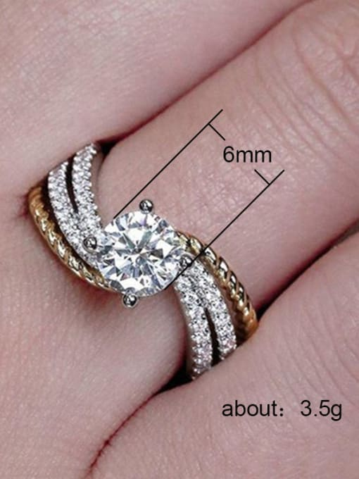 MATCH Copper With White Gold Plated Delicate Cubic Zirconia Solitaire Rings 2