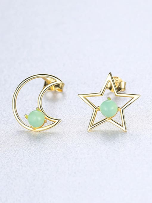 green 925 Sterling Silver With multicolor Opal Cute Stars moon asymmetry Stud Earrings